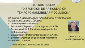 """Curso modular """"DISFUNCIÓN DE ARTICULACIÓN TÉMPOROMANDIBULAR y OCLUSIÓN"""""""