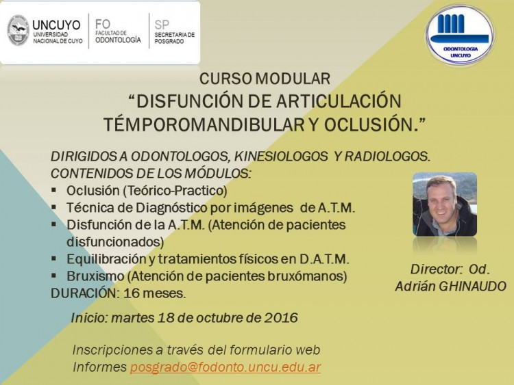 Curso modular \DISFUNCIÓN DE ARTICULACIÓN TÉMPOROMANDIBULAR y OCLUSIÓN\