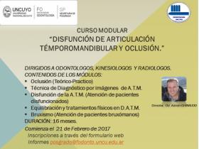 CURSO DE DISFUNCIÓN DE ARTICULACIÓN TÉMPOROMANDIBULAR Y OCLUSIÓN