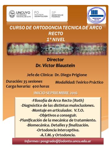 CURSO DE ORTODONCIA  - TECNICA DE ARCO RECTO FILOSOFIA DE ROTH - 1º NIVEL.