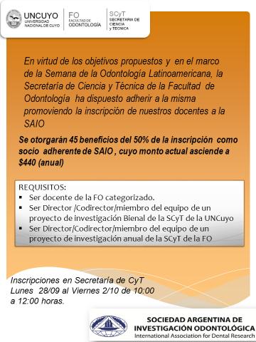 Inscripción de Docentes a la Sociedad Argentina de Investigación Odontológica SAIO