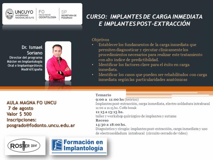 Curso: Implantes de carga inmediata e Implantes post-extracción