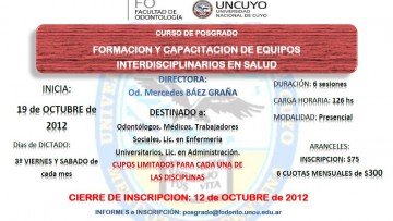 """CURSO DE POSGRADO """"FORMACION Y CAPACITACION DE EQUIPOS INTERDISCIPLINARIOS EN SALUD"""""""