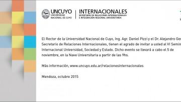 Invitación VI Seminario Internacional \Universidad, Sociedad y Estado\