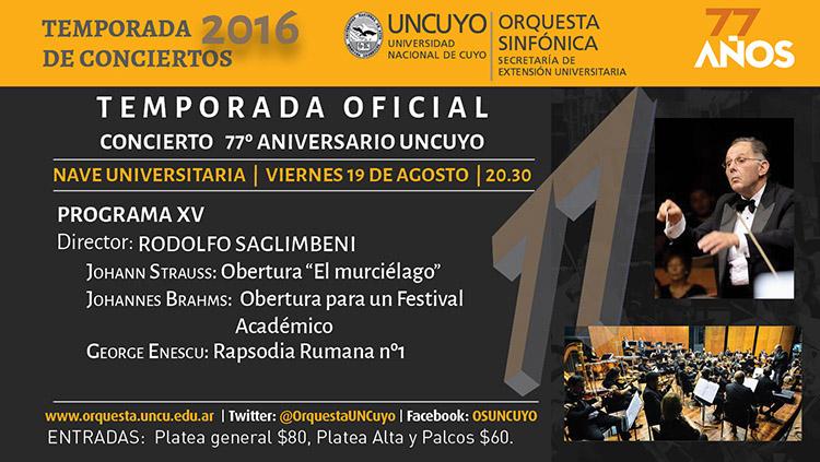 Concierto Conmemoración del 77º Aniversario de la UNCUYO
