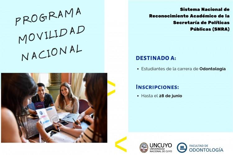 Convocan a postular a 7 cupos de movilidad nacional para estudiantes UNCUYO, y uno es para Odontología