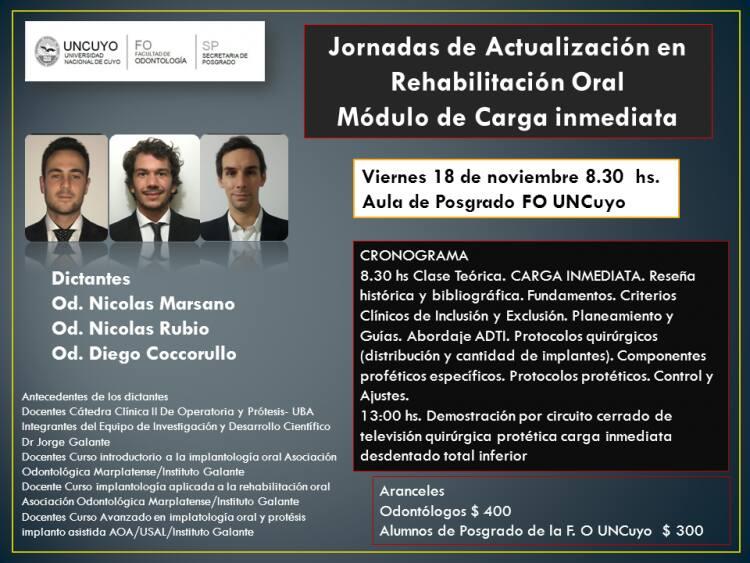 Jornadas de Actualización en Rehabilitación Oral: MÓDULO DE CARGA INMEDIATA